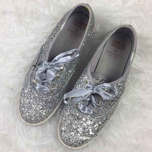 Kate Spade X Keds Wedding Glitter Shoes 8 Silver